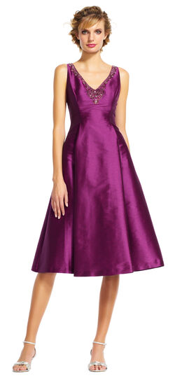 Fit and Flare Midi Dress with Beaded V-Neckline
