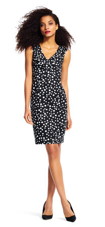 Polka Dot Sheath Dress with V-Neckline