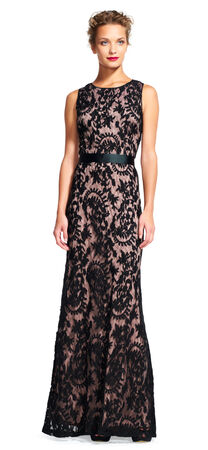 Sheer Lace Mermaid Dress with Ribbon Tie Waist