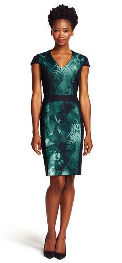 Cap-Sleeve Printed Sheath Dress