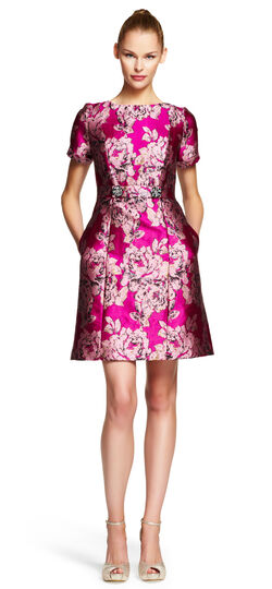 Embellished Waist Tab Metallic Jacquard Dress