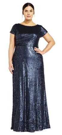 Short Sleeve Sequin Gown