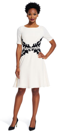 Applique Fit and Flare Dress