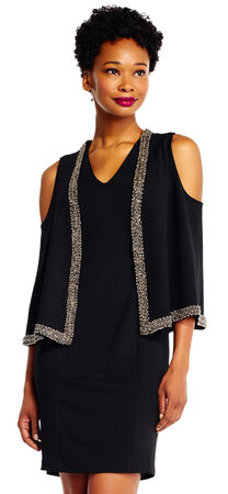 Open Shoulder Cape Dress with Beaded Accents