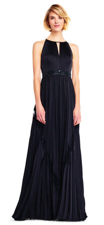 Satin Chiffon Halter Dress with Chantilly Lace Insets
