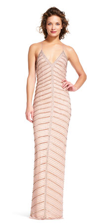 Chevron Beaded Halter Gown with Open Back