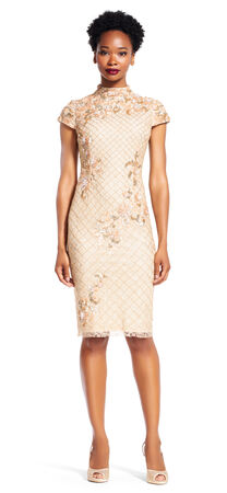 Mock Neck Cap Sleeve Dress with Beaded Netting and 3D Florals