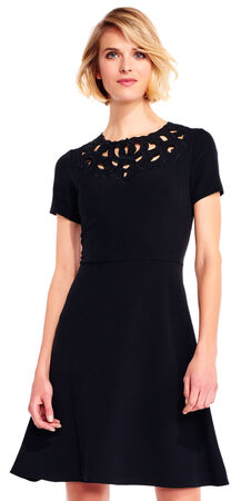 Short Sleeve Fit and Flare Dress with Embroidered Neckline