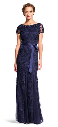 Short Sleeve Lace Godet Gown with Jeweled Neckline