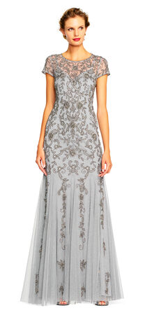 Illusion Short Sleeve Beaded Gown with Godet Skirt and Keyhole Back