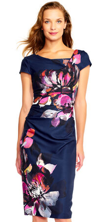 Watercolor Floral Sheath Dress with Cowl Neck and Tucked Details