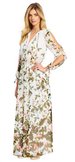 Botanical Printed Chiffon Maxi Dress