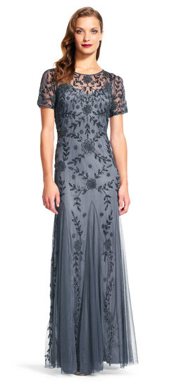 Short Sleeve Vine Beaded Gown with Godet Skirt