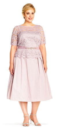 Taffeta Midi Dress with Lace Bodice and Elbow Sleeves