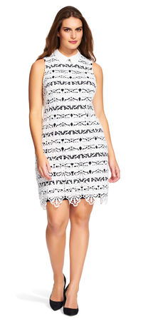 Lace Shift Dress with Stripe Underlay