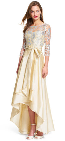 Sequin Lace Gown with High Low Taffeta Skirt