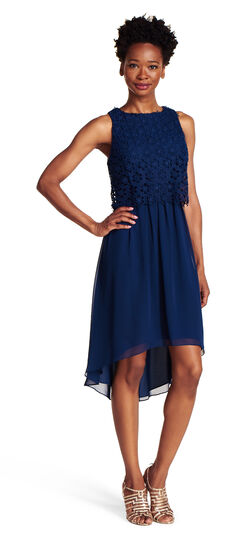 Popover Lace and Chiffon Fit and Flare Dress