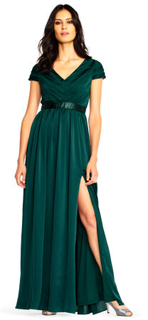Short Sleeve Chiffon Dress with Beaded Waist and Slit Skirt
