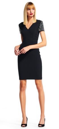 Sheath Dress with Pearl Studded Short Sleeves