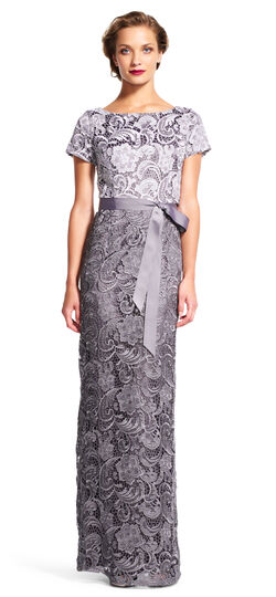 Colorblock Lace Column Gown with Ribbon Tie Waist