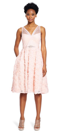 Petal Chiffon Fit and Flare Dress