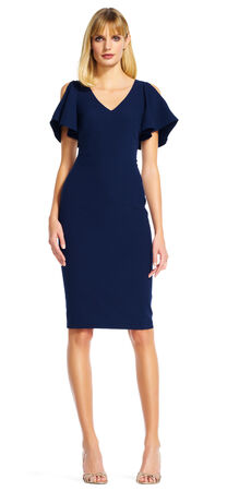 Open Shoulder Sheath Dress with Ruffle Short Sleeves