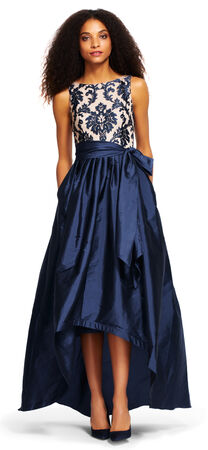 High Low Ball Gown with Embroidered Lace