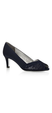 Jude Lace and Satin Peep Toe Pump