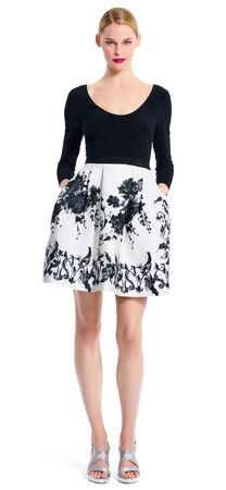 Jersey & Jacquard Fit & Flare Dress