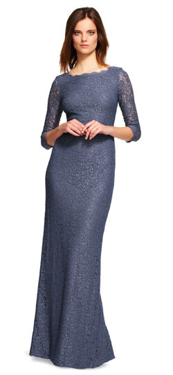 Lace Gown with Sheer Sleeves and Slit Hem