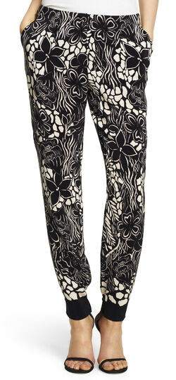 Floral Skinny Pants with Elastic Cuffs