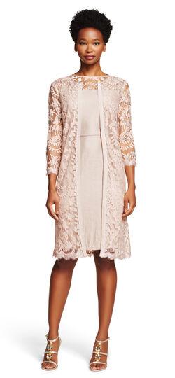 Shimmer Sheath Dress with Lace Yoke & Jacket
