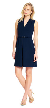 Pebble Crepe Belted Dress