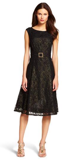 Tea Length Metallic Lace Dress