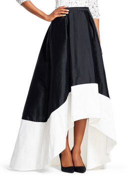 High Low Colorblock Taffeta Ball Skirt
