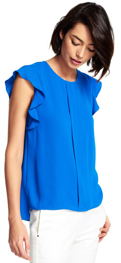 Flutter Sleeve Top with Pleat Front
