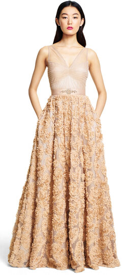 Embellished Petal Chiffon Ball Gown