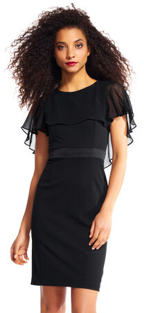 Sheath Dress with Sheer Ruffle Cape