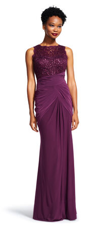 Sleeveless Draped Dress with Sequin Lace Bodice