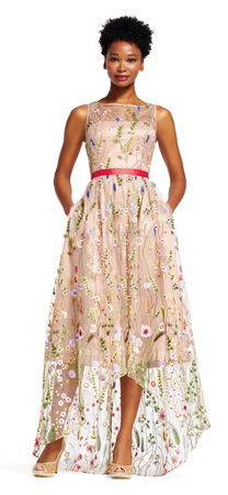 Floral Embroidered High Low Dress with Sheer Skirt