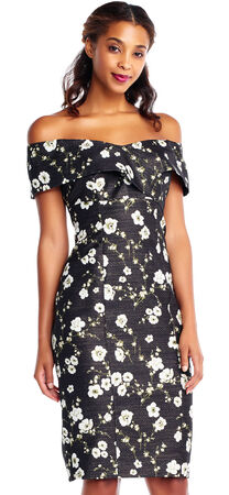 Off The Shoulder Sheath Dress with Floral Metallic Print