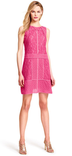 Mixed Media A-line Lace Dress with Piping
