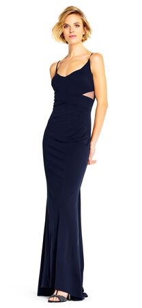 Jersey Mermaid Gown with Sheer Cutout Sides