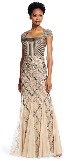 Cap Sleeve Fully Beaded Gown