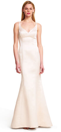 Sleeveless Fitted Satin Mermaid Gown with Trumpet Skirt