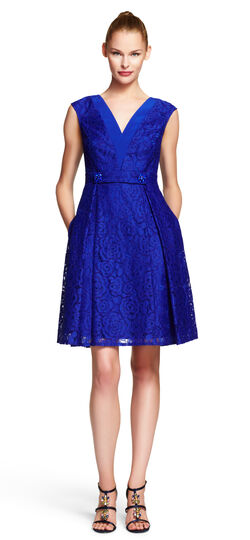 V-neck Fit and Flare Lace Dress