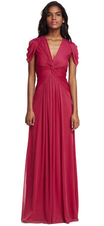 Cap Sleeve Draped Tulle Gown