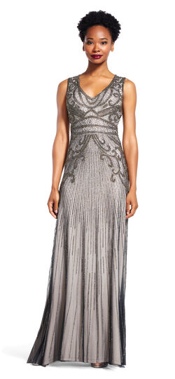 1920sStyleDresses Sleeveless Beaded Gown with V-Neck $369.00 AT vintagedancer.com