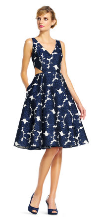 Floral Midi Dress with Cutout Waist and V-Neck