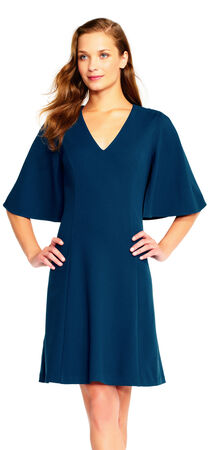 Crepe A-Line Dress with Cape Sleeves